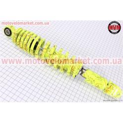 Амортизатор задний GY6/Honda - 320мм*d55мм (втулка 10мм / вилка 8мм) регулир., лимонный с паутиной