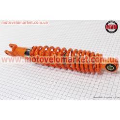 Амортизатор задний GY6/Honda - 310мм*d59мм (втулка 10мм / вилка 8мм) регулир., оранжевый с паутиной