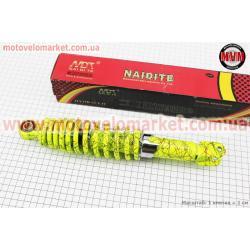 Амортизатор задний GY6/Honda - 290мм*d55мм (втулка 10мм / вилка 8мм) регулир., лимонный с паутиной
