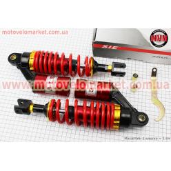 Амортизатор задний GY6/Yamaha - 280мм*d62мм (втулка 12мм / вилка 8мм) газовый регулир., красный к-кт 2шт