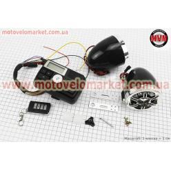АУДИО-блок с ЖК дисплеем (МРЗ-USB/SD, FM, пульт ДУ, сигнализация)  + колонки 2шт (хром.)