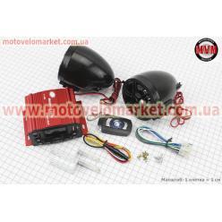 АУДИО-блок с ЖК дисплеем (МРЗ-USB/SD, FM, пульт ДУ, сигнализация) + колонки 2шт (черные)