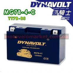 АКБ мото 12V 6A DYNAVOLT MG7B-4-C(YT7B-BS)150х65х92мм