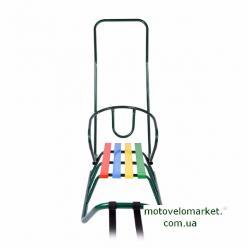 Санки Балу зеленые лак (7210) с ручкой (7510)